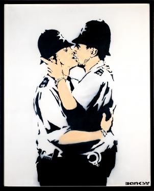The Art of Banksy Kissing Policemen