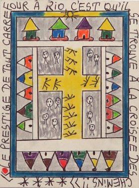 Frederic Bruly-Bouabré, Le prestige de tout carrefour, 2012, coloured pencil and pen on cardboard paper, 14,5 x 11 cm, Galerie Jean Brolly, Paris