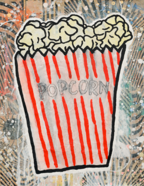 Popcorn (2016 Gesso, Flashe, graphite and paper collage on paper)