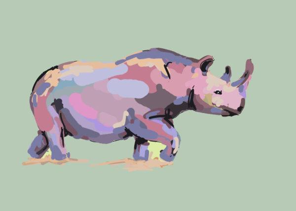 tekeningen dieren neushoorn