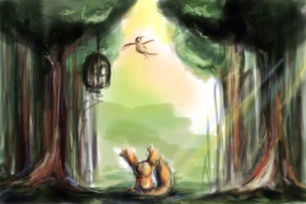 tekeningen dieren vogel eekhoorn