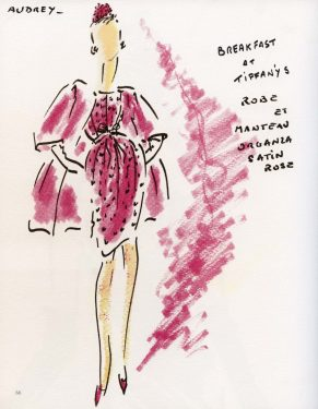 Tekening door Hubert de Givenchy, van Audrey Hepburn, gekleed in ensemble gedragen in 'Breakfast in Tiffany's' (1961), Courtesy Hubert de Givenchy