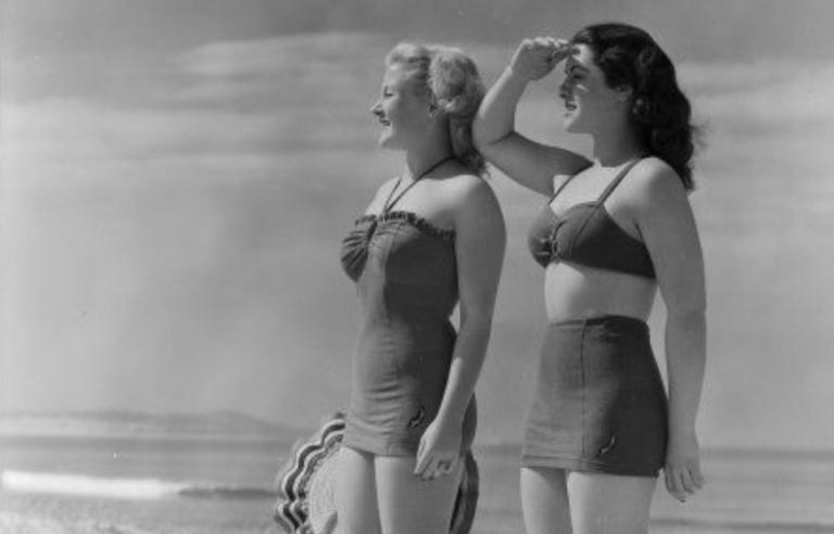 Fijne vintage foto's van badkleding
