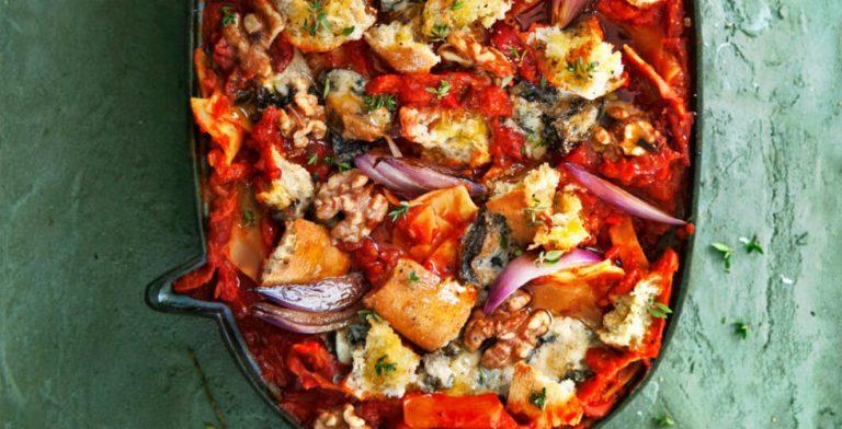 Gorgonzola-ui-lasagne met paprika